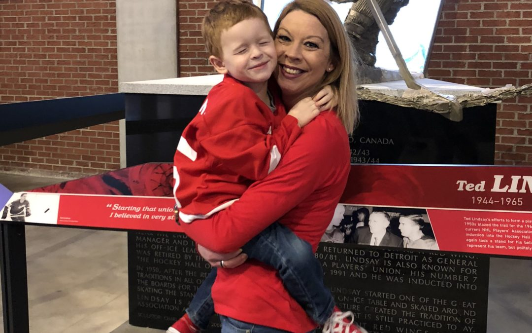 Dougie and His Family Stop By Little Caesars Arena for a Red Wings Game