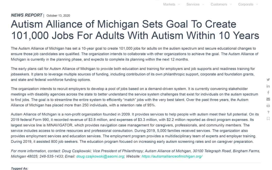Autism Alliance of Michigan Sets Goal To Create 101,000 Jobs For Adults With Autism Within 10 Years