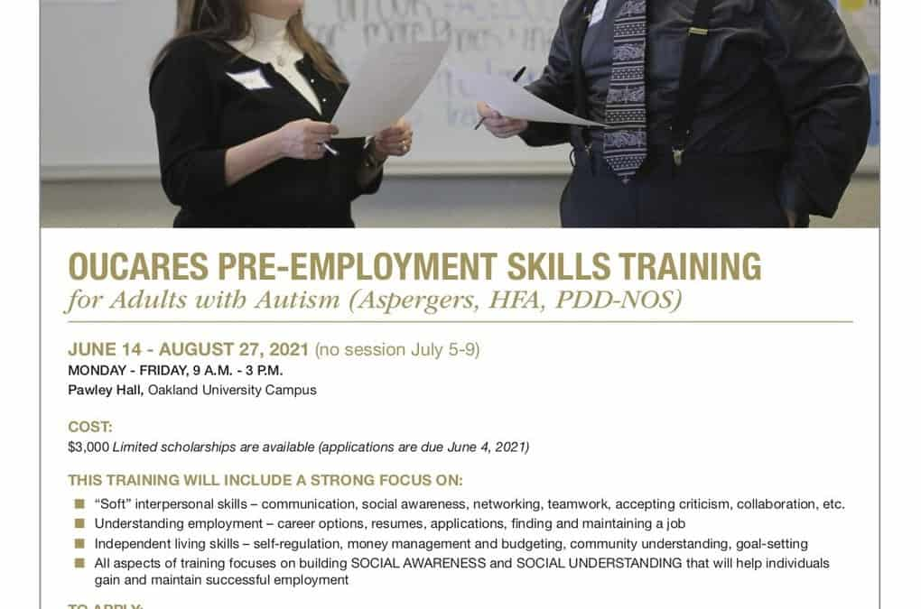 OUCARES PRE-EMPLOYMENT SKILLS TRAINING for Adults with Autism (Aspergers, HFA, PDD-NOS)